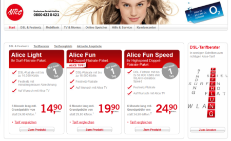Alice Website um 16h30 - noch mit Alice